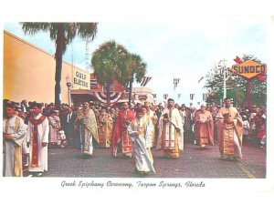 Pre-1980 SUNOCO GAS STATION SIGN AT CEREMONY Tarpon Springs by Tampa FL AF6208