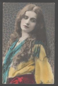 103611 BELLE Woman LONG HAIR Art Nouveau Vintage PHOTO Tinted
