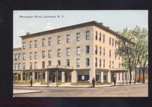 CORTLAND NEW YORK MESSENGER HOTEL ANTIQUE VINTAGE POSTCARD N