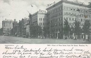 View of Penn. St. from 5th St., Reading, PA, early postcard, Used in 1906