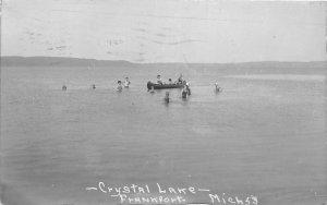 G21/ Frankfort Michigan RPPC Postcard 1931 Crystal Lake Canoe Swimmers