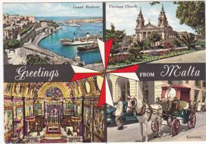 Postcard Malta Greetings from 4 views