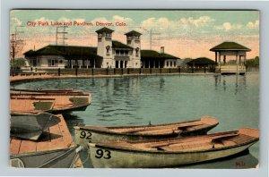 Denver CO, City Park Lake And Pavilion, Vintage Colorado c1915 Postcard