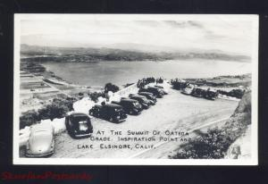 RPPC LAKE ELSINORE CALIFORNIA 1930's CARS ORTEGA GRADE REAL