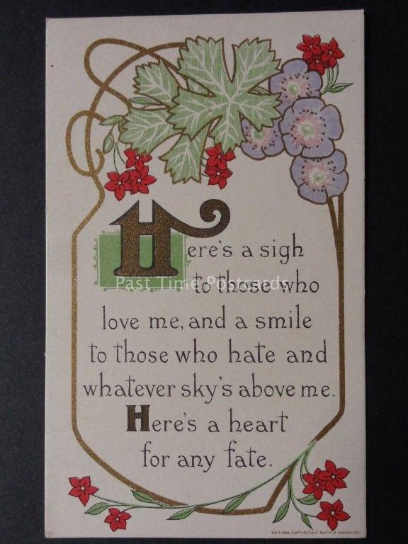 Verse & Poem: HERE'S A HEART FOR ANY FATE..... c1911 By Ruth H.Davis