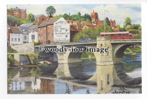 tm6021 - Bus on Bridge, at Bridnorth Low Town c1985, Artist - Davron - postcard