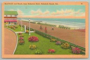 Rehoboth Beach Delaware~Boardwalk Beach From Belhaven Hotel~1940s Linen Postcard