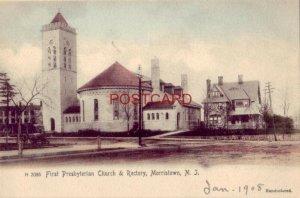 pre-1907 FIRST PRESBYTERIAN CHURCH & RECTORY, MORRISTOWN, N. J. Handcolored