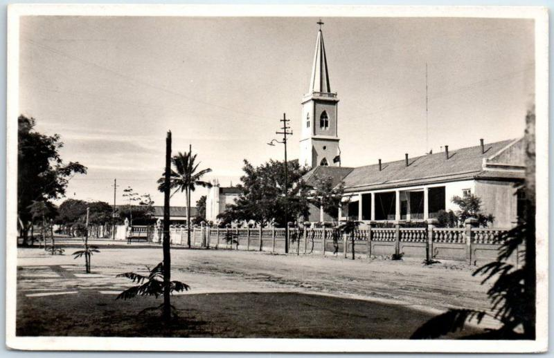 Beira, MOZAMBIQUE Africa RPPC Real Photo Postcard Street Scene w/ Church c1950s