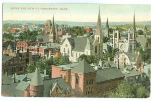 USA, Bird's eye view of Worcester, Mass, early 1900s unused Postcard