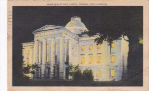 North Carolina Raleigh Night View Of State Capitol 1946