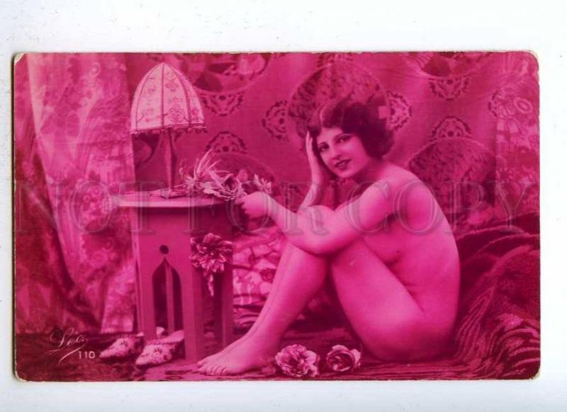 187822 NUDE Woman w/ Lamp Vintage Red PHOTO LEO #110