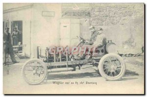 Postcard Old Automobile Wagner on his 85 horses Darracq