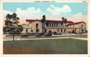 Library, Pasadena, California, Early Postcard, Unused