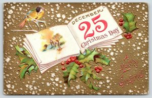 Christmas~Yellow Bird on Branch~Open Book~Snow on Gold Back~Holly Berry~Embossed