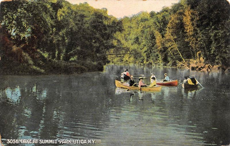 Utica New York c1910 Postcard Lake at Summit Park with Boaters