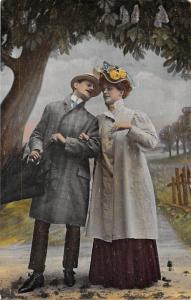 Elegant Vintage Couple, Lovers, Fancy Clothing, Rain Umbrella