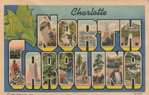 Large Letter Greetings from CHARLOTTE, North Carolina, 1939
