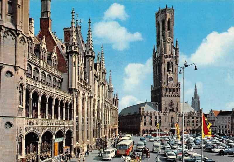 Belgium Bruges Market Place and Belfry, Grand Place Vintage Cars Voitures