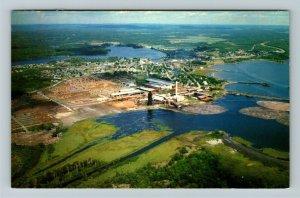 Blind River Ontario- Canada, Aerial View of Town, Lake Huron, Chrome Postcard