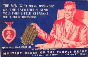 Purple Heart, Wounded Opens up as a advertising card, Non Postcard Backing Un...
