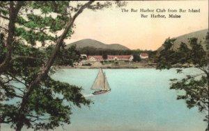BAR HARBOR ME Bar Harbor Club from Bar Island HAND COLORED c1910 Postcard