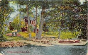 Canobie Lake New Hampshire 1910 Postcard Cottages Dock Boat