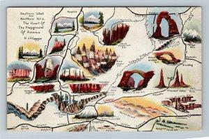 UT-Utah, State Location & Landmarks Map, Linen Postcard