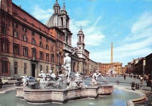Italy Roma Piazza Navona, Square Statues Fountain Cars Voitures