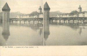 Postcard Stereographic image Switzerland Suisse Lucerne