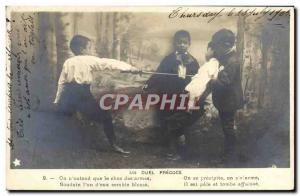 Postcard Old Fencing children an early duel