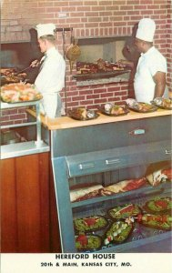 Charcoal Broilers Hereford House Kansas City Missouri 1950s Postcard Teich 11269