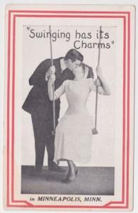 Minneapolis MN Swinging Has It's Charms Romantic Couple Postcard A33