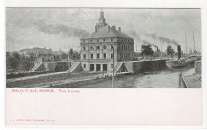 Steamer Locks Sault Ste Marie Michigan Private Mailing Card 1905c postcard