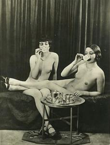 Naughty Nudes, Lesbian, Two for Tea! REPRO Vintage Postcard Z163972