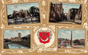 Greetings from Ripon, Cathedral from River, Fountains Abbey, Market Place 1906