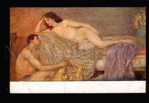 051207 Illuminated Nude BELLE & Slave w/ HARP Harem Vintage PC