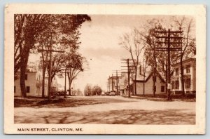Clinton Maine~Main Street~Storefronts~Homes~1940s Sepia Litho Postcard