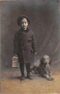 F71/ Interesting Real Photo RPPC Postcard c1910 Child Pet Dog Hat 20