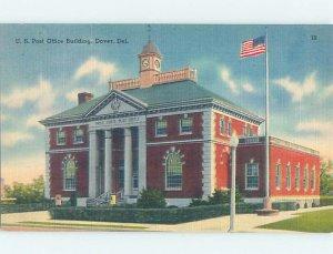 Linen POST OFFICE SCENE Dover Delaware DE AF0973