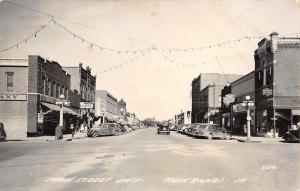 Rock Rapids Iowa~Main Street~Van's Market~Wolff Stores~JC Penney~1940s Cars~RPPC