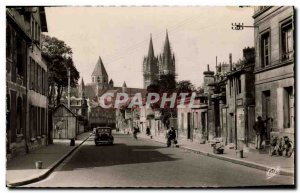 Postcard Moderne Caen Rue St Manvieux and Church St Etienne