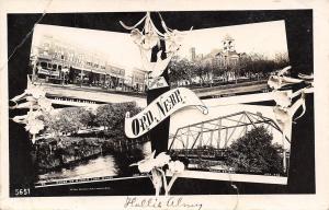 Ord Nebraska~West Side Square~People's Store~Macon Bridge~Art Nouveau~1910 RPPC