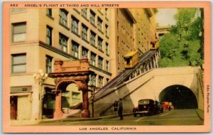 1940s Los Angeles, CA Postcard ANGEL'S FLIGHT Incline Railway Funicular Linen