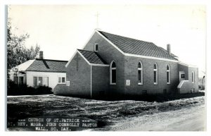 RPPC Church of St. Patrick, Wall, SD Real Photo Postcard *6E(3)15
