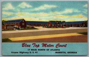 Postcard Marietta GA c1952 Blue Top Motor Court Highway US 41 Linen