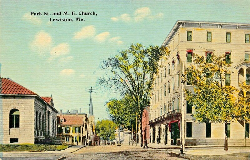 LEWISTON MAINE~PARK STREET & METHODIST EPISCOPAL CHURCH-1910s H L TARR POSTCARD
