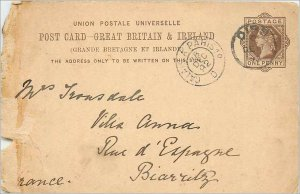 Entier Postal Stationery Postal Great Britain Great Britain 1892 to Biarritz