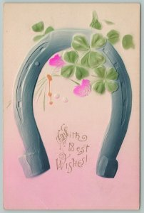 Flowers Greetings~Bouquet of Carnations on Horseshoe~c1910 Embossed Postcard