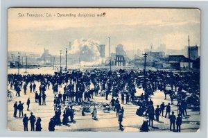 San Francisco CA, Dynamiting Dangerous Walls, Vintage California Postcard